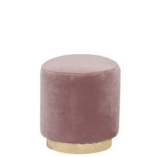 An Image of Small Velvet Stool Dusty Pink