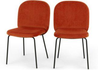 An Image of Set of 2 Safia Dining Chairs, Flame Orange Velvet
