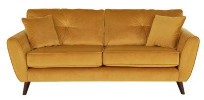 An Image of Habitat Isla 3 Seater Velvet Sofa - Gold