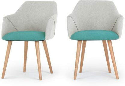 An Image of Set of 2 Lule High Back Carver Chairs, Emerald Green and Hail Grey