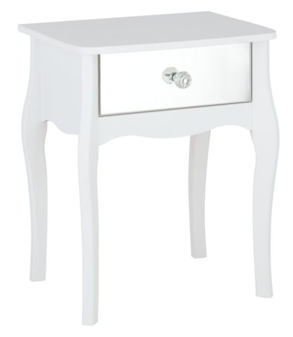 An Image of Argos Home Amelie 1 Drawer Mirrored Bedside Table - White