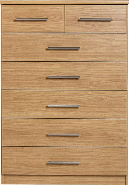 An Image of Argos Home Normandy 5+2 Drawer Chest - Oak Effect