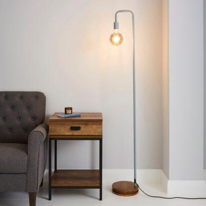 An Image of Berko Grey Floor Lamp Grey
