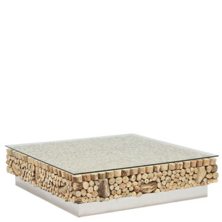An Image of Caspian Avant Garde Driftwood and Glass Square Coffee Table