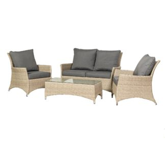 An Image of Lisbon 4 Seater Deluxe Conversation Set Cream