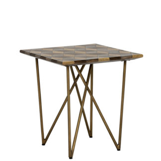 An Image of Facet Lamp Table Dark Mango Wood and Brass