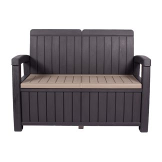 An Image of Faro 2 Seater Black Storage Bench Black