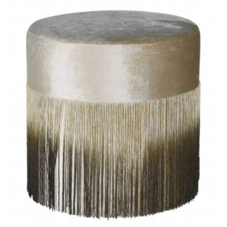 An Image of Ombre Fringe Stool Beige and Brown