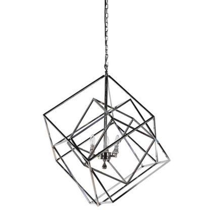 An Image of Geometric Box Pendant Shiny Metallic Finish