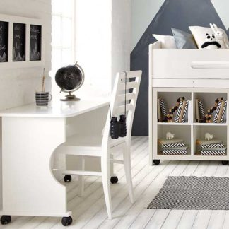 An Image of Kenzie Childrens Midsleeper with Desk And Storage Bookcase