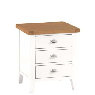 An Image of Althorp Large Bedside Table - Old White And Lightly Lime Washed Oak