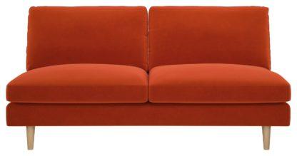An Image of Habitat Teo 2 Seater Velvet Sofa - Orange