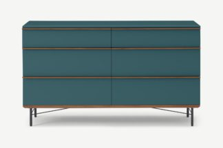 An Image of Vincent Wide Chest of Drawers, Petrol Blue & Walnut Stain