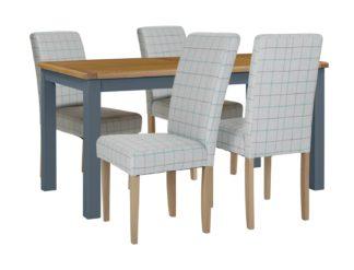 An Image of Habitat Kent Wood Veneer Dining Table & 4 Light Grey Chairs