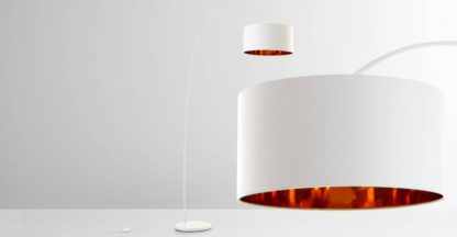 An Image of Sweep Arc Overreach Floor Lamp, Matt White and Copper