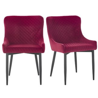 An Image of Montreal Set of 2 Dining Chairs Merlot Velvet Merlot