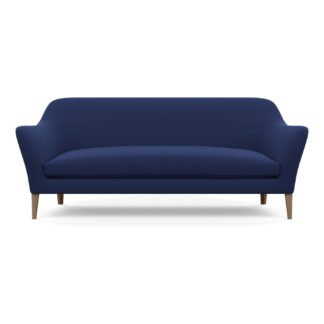 An Image of Wallis 4 Seater Sofa Melton Wool New Navy Walnut Feet