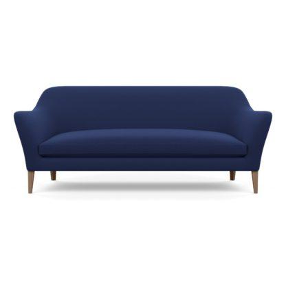 An Image of Wallis 4 Seater Sofa Melton Wool New Navy Walnut Feet