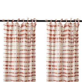 An Image of Pair of Tie Dye Hanging Drapes Red