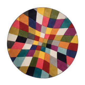 An Image of Rhumba Geometric Rug Blue, Pink and White
