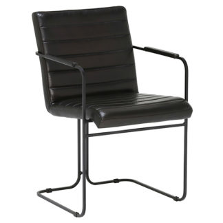An Image of Baxter Dining Chair - Gloss Black Finish - 100% Leather or 100% Polyester Faux Velvet