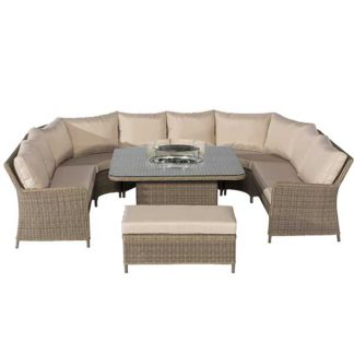 An Image of Taransay Royal U Shaped Garden Set with Fire Pit in Natural Weave and Beige Fabric Cushions