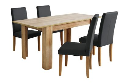 An Image of Habitat Miami Oak Effect Extending Table & 4 Grey Chairs