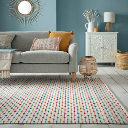 An Image of Elena Stripe Rug Blue, Yellow and White