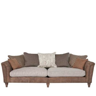 An Image of Darwin Grand Split Frame Pillow Back Sofa Leather and Fabric Mix
