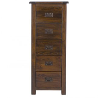 An Image of Boston Narrow 5 Tallboy Drawer Chest Brown