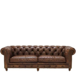An Image of Asquith Leather 3 Seater Chesterfield Sofa