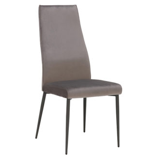 An Image of Martino Velvet Dining Chair Grey