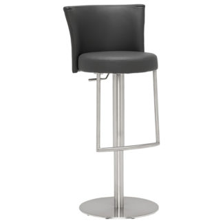 An Image of Simone Bar Stool Grey and Brushed Steel