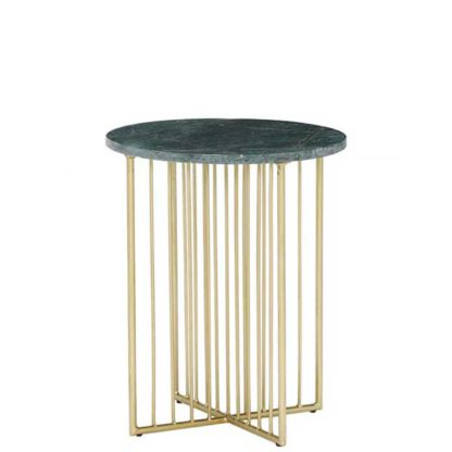An Image of Lalit Side Table Green Marble With Brass Leg