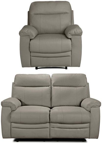 An Image of Argos Home Paolo Chair & 2 Seater Manual Recliner Sofa -Grey