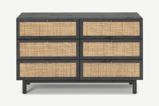 An Image of Pavia Wide Chest of Drawers, Natural Rattan & Black Wood Effect