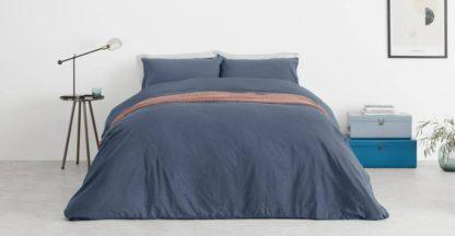 An Image of Alexia Stonewashed Cotton Duvet Cover + 2 Pillowcases, King, Indigo Blue UK