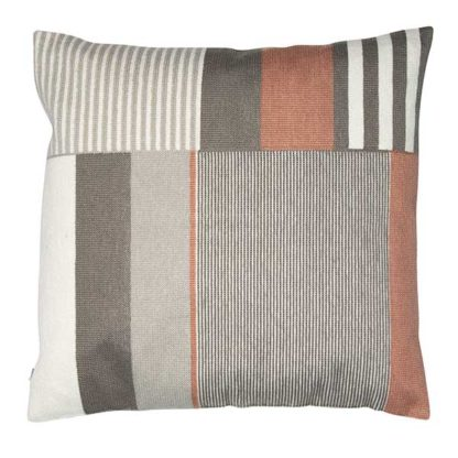 An Image of Linear Block Cushion Pink And Grey