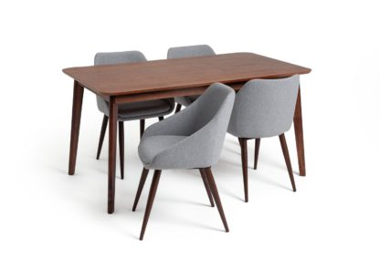 An Image of Habitat Skandi Walnut Veneer Dining Table & 4 Grey Chairs