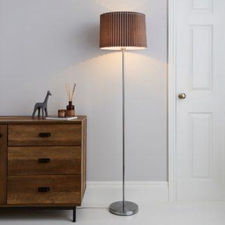 An Image of Fuller Grey Floor Lamp Grey, Chrome