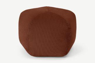 An Image of Pebble Pentagon Pouffe, Russet Corduroy Velvet