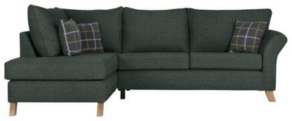 An Image of Argos Home Kayla Left Corner Fabric Sofa -Charcoal