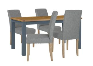 An Image of Habitat Kent Wood Veneer Dining Table & 4 Grey Chairs