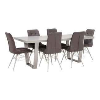 An Image of Halmstad Dining Table and 6 Hix Chairs Grey