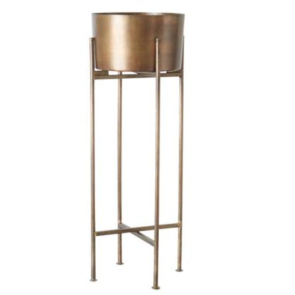 An Image of Metallic Plant Pot and Stand Antique Bronze