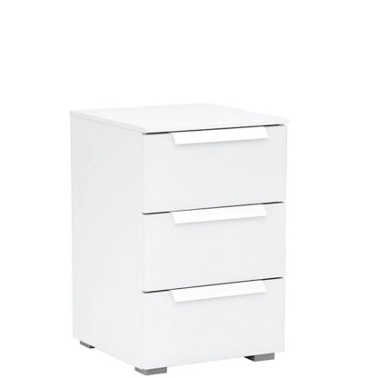 An Image of Atlanta 3 Drawer Bedside Crystal White and Alpine White