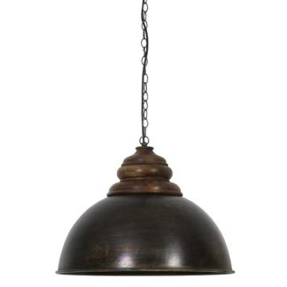 An Image of Black Zinc and Wood Hanging Lamp