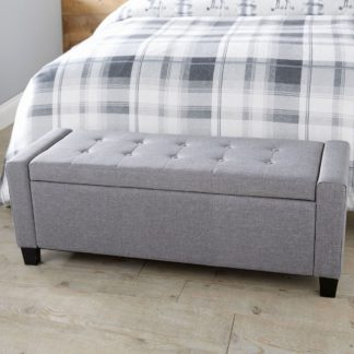 An Image of Verona Upholstered Ottoman in Grey Grey