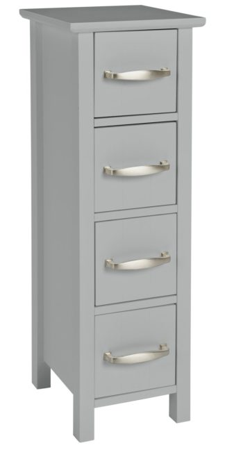 An Image of Argos Home Tongue & Groove 4 Drawer Slimline Unit - Grey
