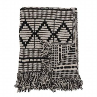 An Image of Fringed Throw Black and Cream